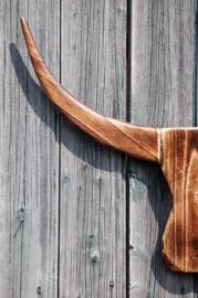 Houten Buffalo hoofd bruin M