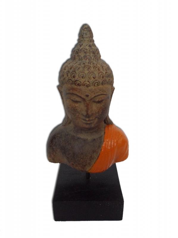 Buddha torso op voet - oranje