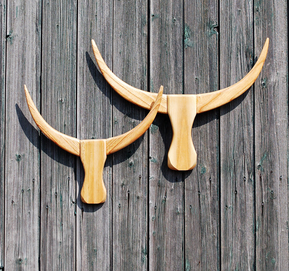Houten Buffalo hoofd naturel M