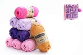 Garenpakket 'Retro Rond'; Tulip, Deep Violet, Lavender, Shocking Pink en Ginger Gold