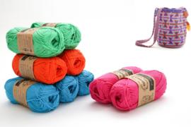 Vivid Blue, Royal Orange, Apple Green en Shocking Pink 'Zandloper groot'