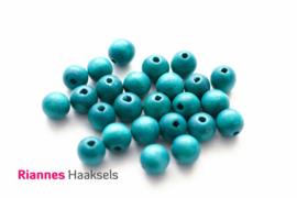 Houten kralen 8 mm petrol - 14462