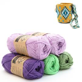 Lavender, Delphinium, Apple Granny en Sage Green 'Aztek groot'