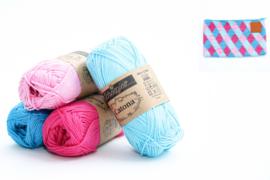 Garenpakket 'Etui Groot'; Vivid Blue, Cyan, Shocking Pink en Tulip