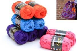 Garenpakket 'Grote Zandloper'; Donker paars, oranje, helder blauw en cyclaam roze
