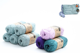 Garenpakket 'Effen Ovaal met driehoekjes'; Silver Blue, Deep Ocean Green, Deep Violet en Light Orchid