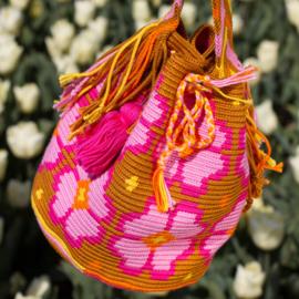 Garenpakket 'Grote Bloem'; Goud bruin, helder roze, roze, licht oranje en geel