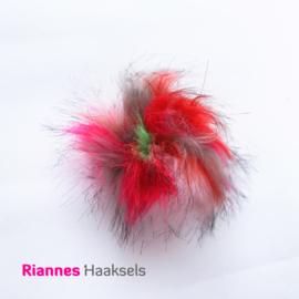 Pompon kunstbont, Rood - roze 6