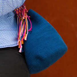 Garenpakket 'Effen'; Marine blauw, cyclaam roze, roze en goud bruin