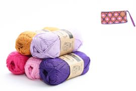 Garenpakket 'Retro Etui'; Deep Violet, Tulip, Shocking Pink, Ginger Gold en Lavender