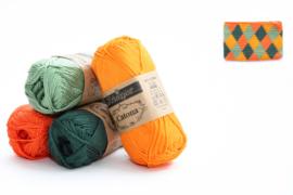 Garenpakket 'Etui Klein'; Royal Orange, Tangerine, Fir en Sage Green