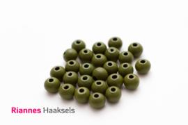 Houten kralen 8 mm leger groen - 6312