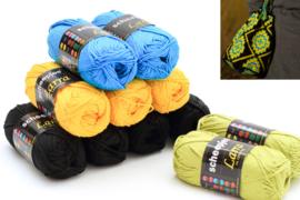 Garenpakket 'Kruis': Zwart, geel, groen en helder blauw
