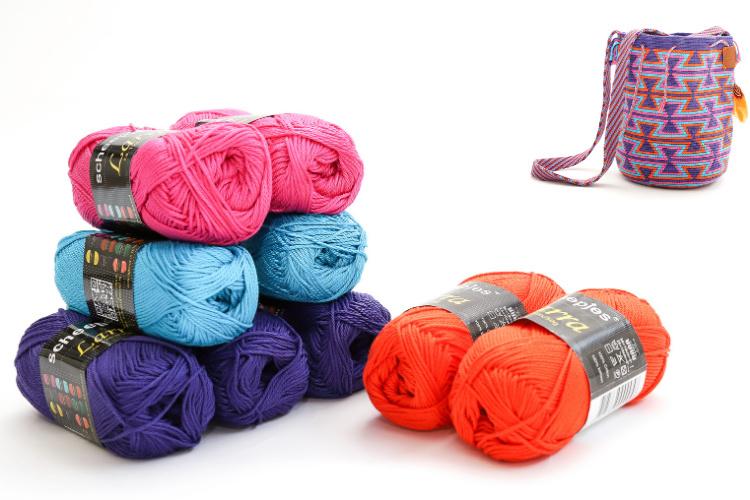 Paars, helder blauw, cyclaam roze en oranje 'Zandloper groot'