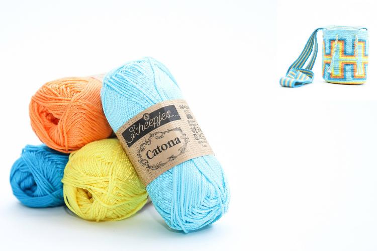 Garenpakket 'Rechthoeken'; Cyan, Vivid Blue, Peach en Lemon