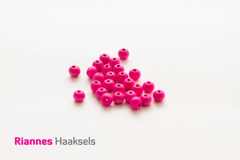 Houten kralen 8 mm knal roze - 17234