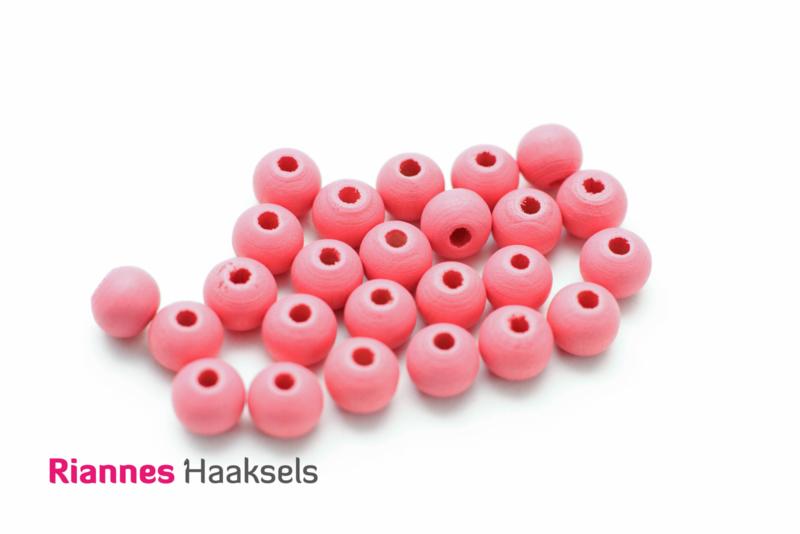 Houten kralen 8 mm roze - 16320