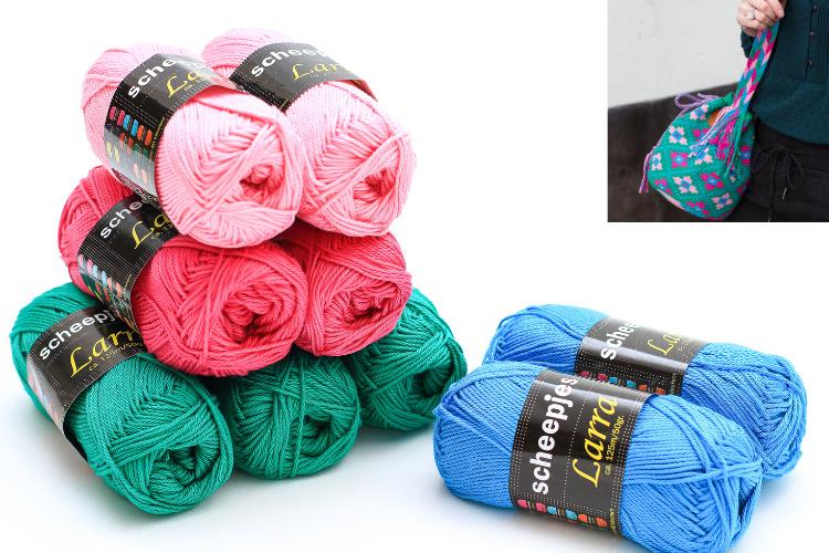 Garenpakket 'Bloemetjes'; Groen, Cyclaam roze, helder blauw en roze