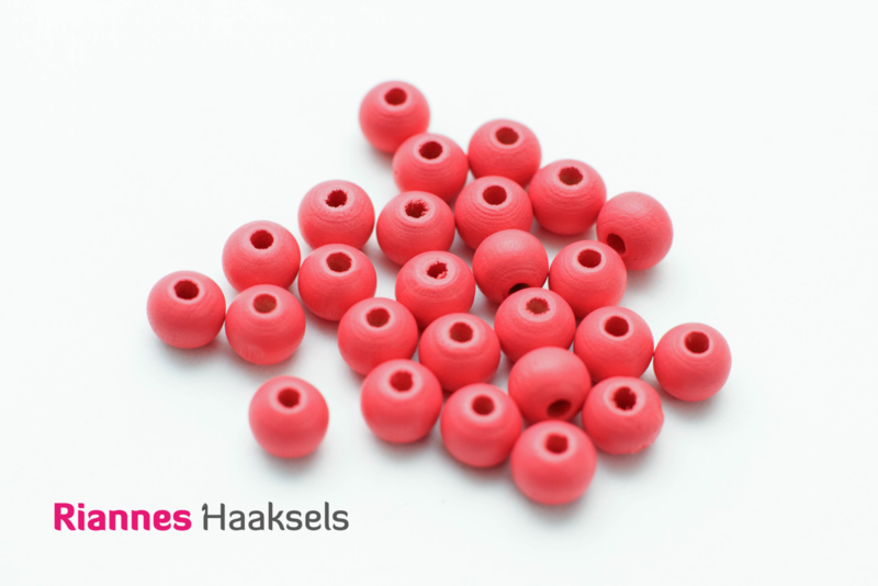 Houten kralen 8 mm donker roze - 16302