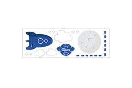 To the Moon Rocket Sticker Galaxy Blue
