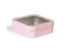 Roze Blik 4-Kant Doorzichtig Deksel