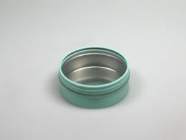 Blik rond doosje doorzichtig deksel aqua