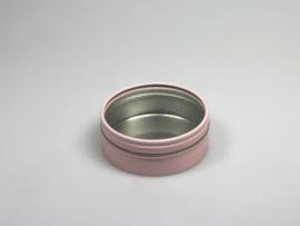 Blik rond doosje doorzichtig deksel roze
