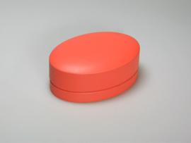 Blik doosje ovaal oranje