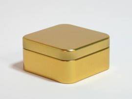 Blik vierkant doosje goud