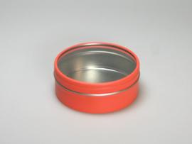 Blik rond doosje doorzichtig deksel oranje