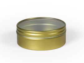 Blik rond doosje doorzichtig deksel Goud