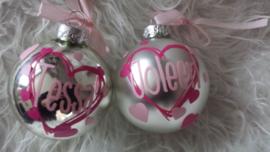 Kerstbal naam in hart of ster