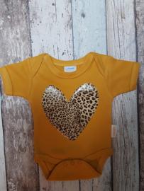 Oker gele romper tijgerprint hart