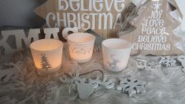 waxinelichtjes wit kersttaferelen