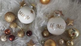 kerstbal wit/goud ik mis je