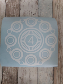 Kliko sticker Zeeuwse Knoop met getal in het midden