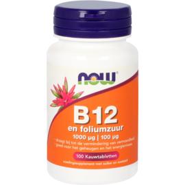 NOW vitamine B12 1000 mcg en Foliumzuur 100 Kauwtabletten