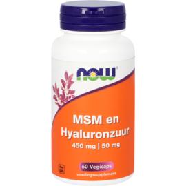 NOW MSM 450 mg en Hyaluronzuur 50 mg 60 vcaps