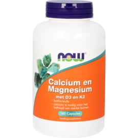 Now Calcium en Magnesium met D3 en K2 180 Capsules