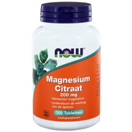 NOW Magnesium Citraat 200 mg 100/250 Tabletten
