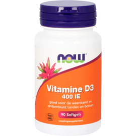 NOW Vitamine D3 400 IE 90 Softgels