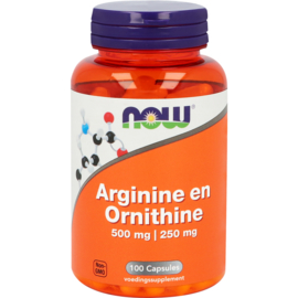 Now Arginine en Ornithine 500/250 mg 100 Capsules