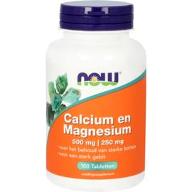 NOW Calcium 500 mg en Magnesium 250 mg 100 Tabletten