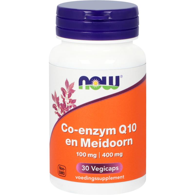 Now Co-enzym Q10 100 mg en Meidoorn 400 mg 30 vcaps