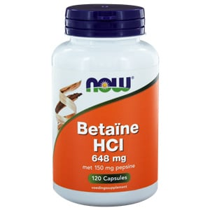 Now Betaine HCL 648 mg 120 vcaps