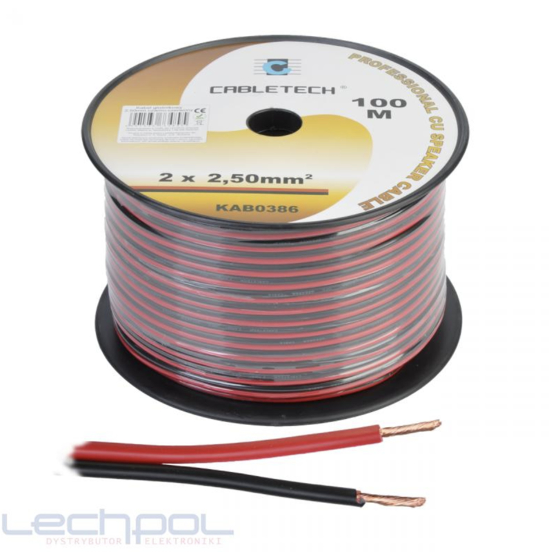 KAB0386 Speaker Cable 2.5mm zwart-rood