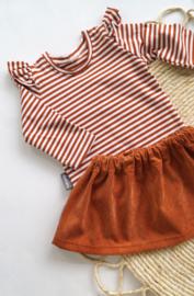 Shirt Roestbruin streep ruffles