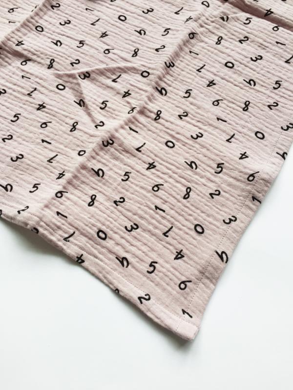 Hydrofiele doek 60x60 cm Cijfers Oudroze