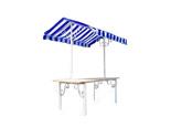 Marktkraam met zeil blauw/wit Franse stijl
