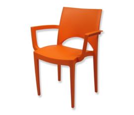 Stoel trendy oranje met armleuning